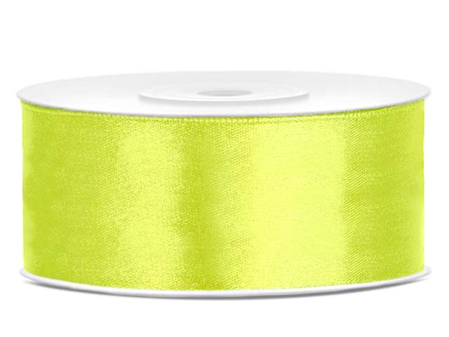 Tasiemka satynowa, zielona neon, 25 mm / 25 m