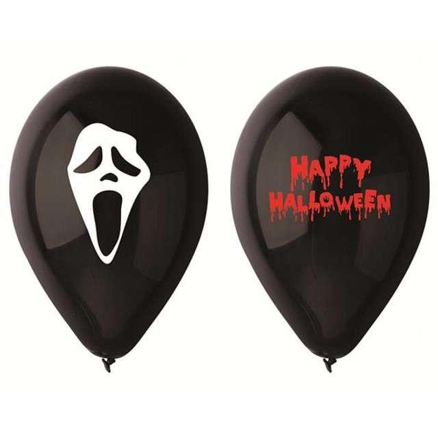 """Balony 12"""", """"Straszne Halloween"""", czarne, 5 szt"""