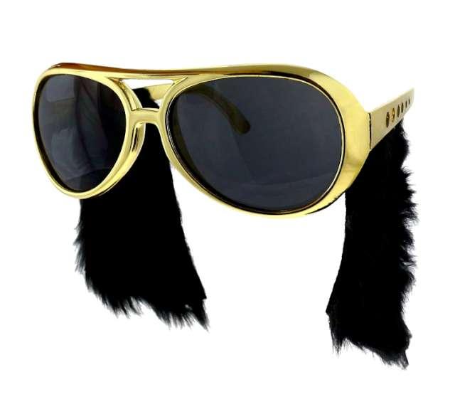 """Okulary party """"Elvis"""" z bakami, złote"""
