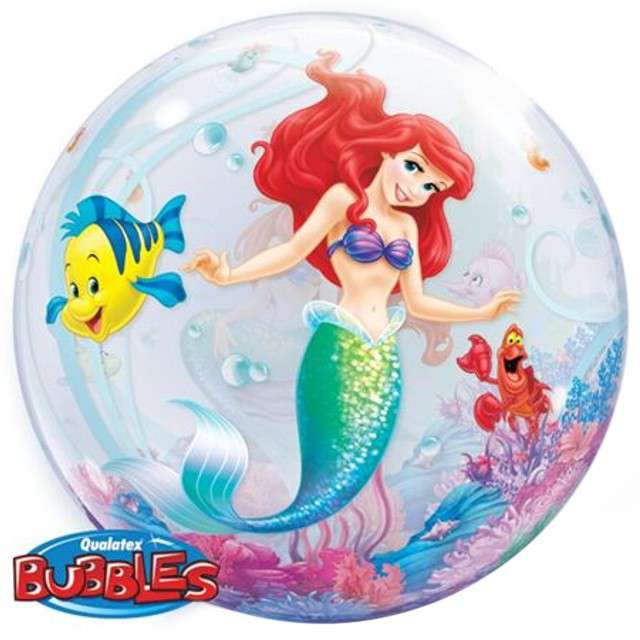 """Balon foliowy """"Mała Syrenka"""", QUALATEX Bubbles, 22"""""""