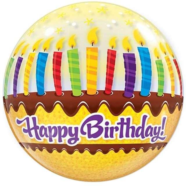"""Balon foliowy 22"""" """"HAPPY BIRTHDAY świeczki"""""""