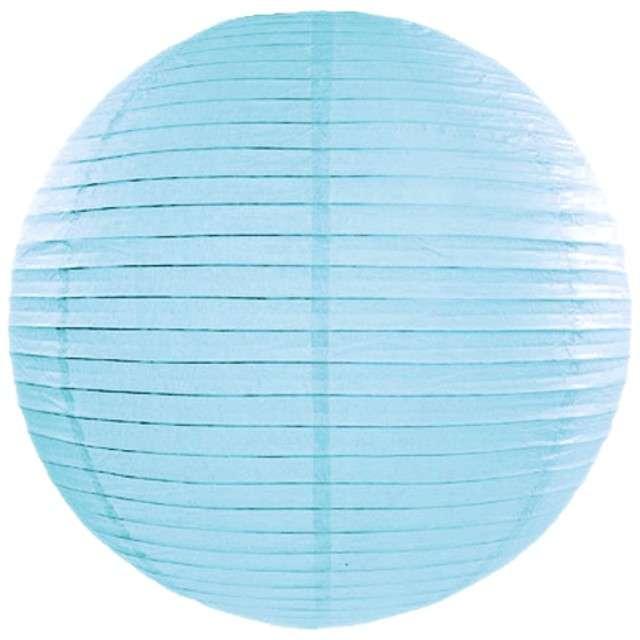 Lampion papierowy, niebieski mglisty jasny, 35 cm