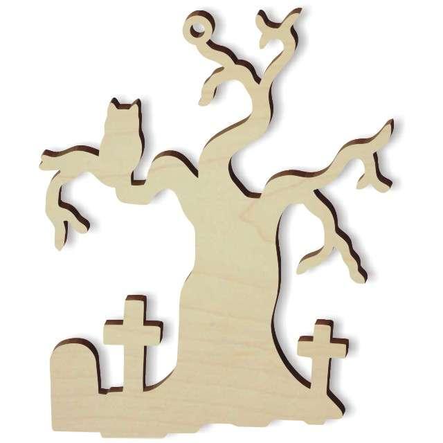 """Zawieszka drewniana """"Nawiedzone Drzewo"""", 71 x 86 mm, 10 szt"""