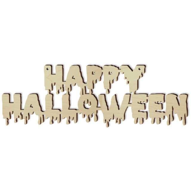 """Zawieszka drewniana """"Happy Halloween"""", 240 x 81 mm,10 szt"""