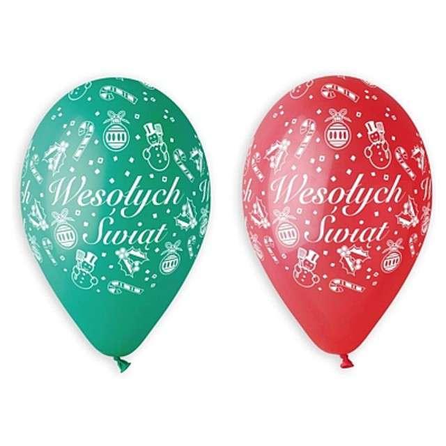 """Balony 12"""", """"Wesołych Świąt"""", czerwone i zielone, 5 szt"""