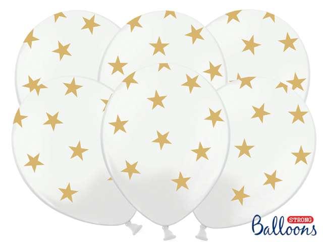 """Balony 14"""", """"Gwiazdki złote"""", STRONG, Pastel Pure White, 6 szt"""