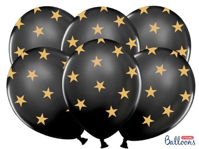 """Balony 14"""", """"Gwiazdki złote"""", STRONG, Pastel Black, 6 szt"""