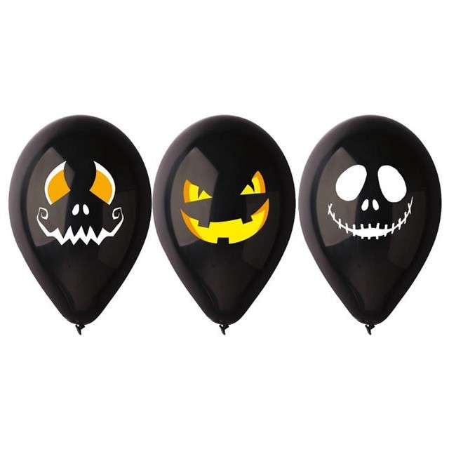 """Balony 12"""", """"Halloweenowe twarze"""", 3 szt"""