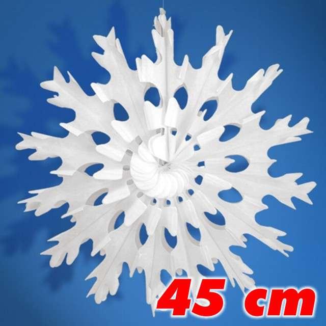Rozeta bibułowa Śnieżynka, biała, 45 cm