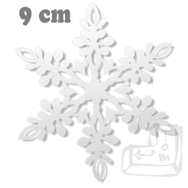 Dekoracje papierowe Śnieżynka, biały, 9 cm, 10 szt