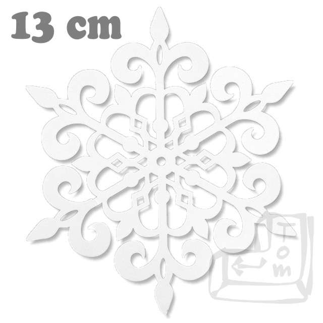 Dekoracje papierowe Śnieżynka, biały, 13 cm, 10 szt