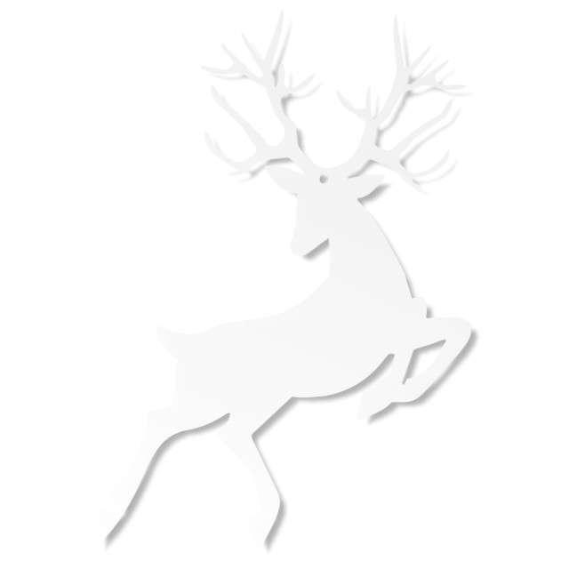 Zawieszka papierowa Rudolf, biały, 9,4 x 14,5 cm, 10 szt