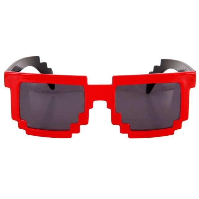 """Okulary party """"8 bit pixel"""", czerwone"""