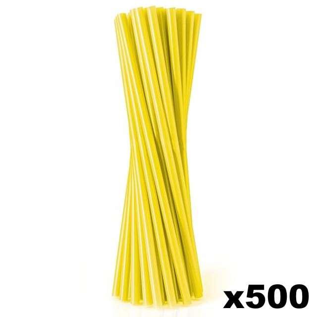 Słomki proste grube 24 cm, żółte, 500 szt