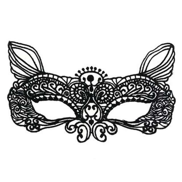 Maska karnawałowa, kocica, czarna ażurowa