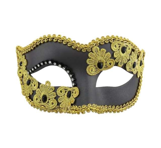 Maska karnawałowa, czarna matowa ze zdobieniami