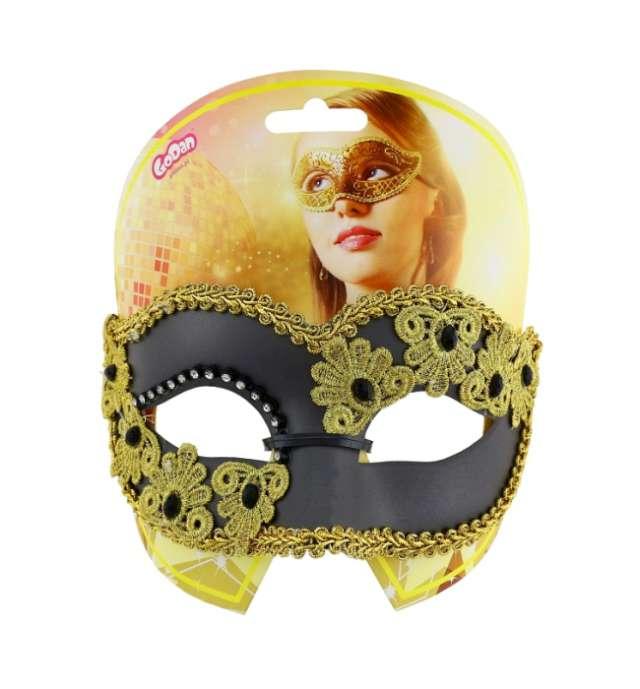 Maska karnawałowa czarna matowa ze zdobieniami