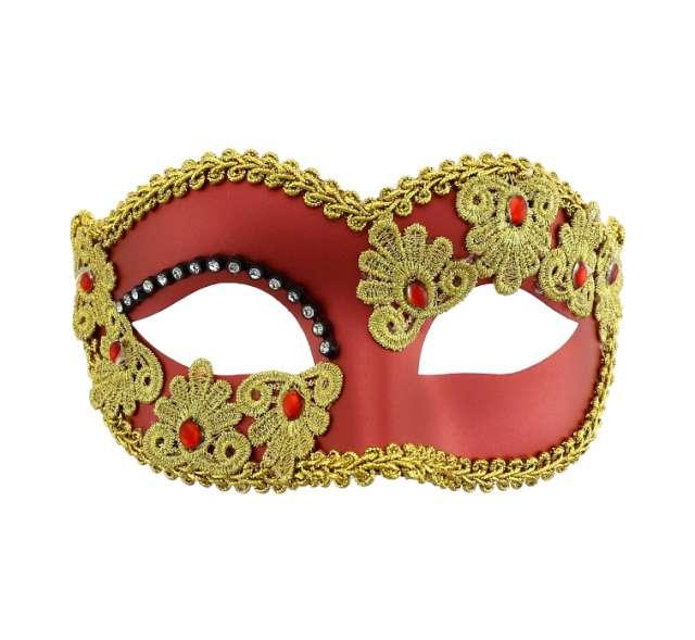 Maska karnawałowa, miedziana matowa ze zdobieniami