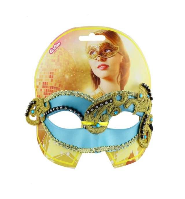 Maska karnawałowa turkusowa glamour
