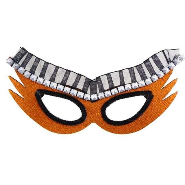 Maska karnawałowa, pomarańczowa, kosmiczna