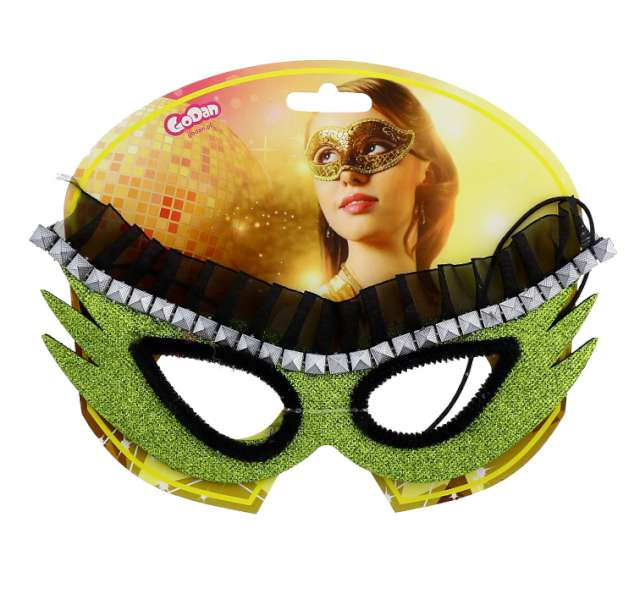 Maska karnawałowa zielona kosmiczna