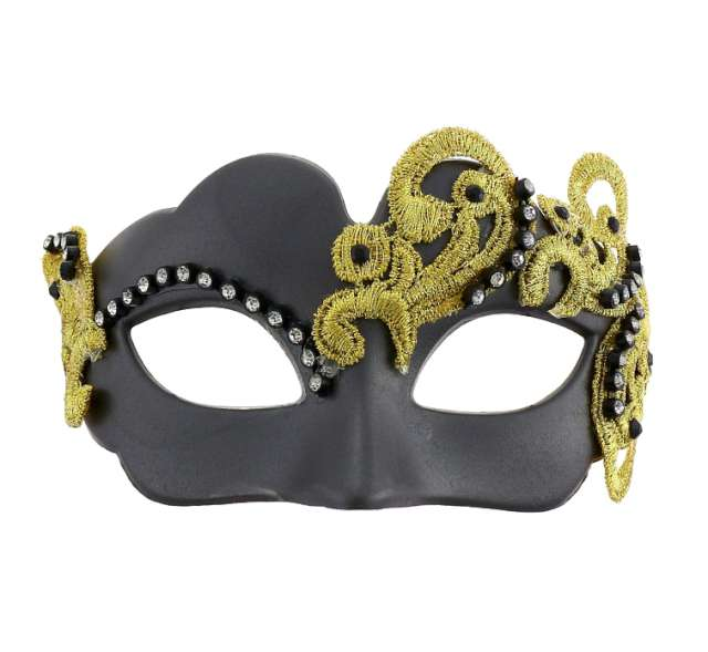 Maska karnawałowa, czarna matowa, midnight