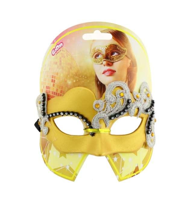 Maska karnawałowa złota matowa midnight