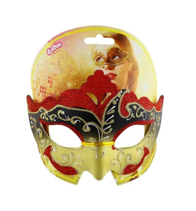 Maska karnawałowa czerwono-złota orientalna