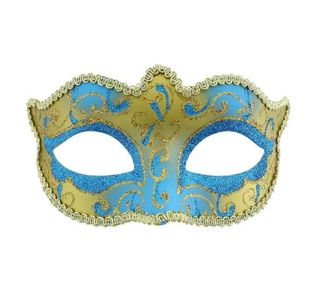 Maska karnawałowa, turkusowo-złota, tajemnicza