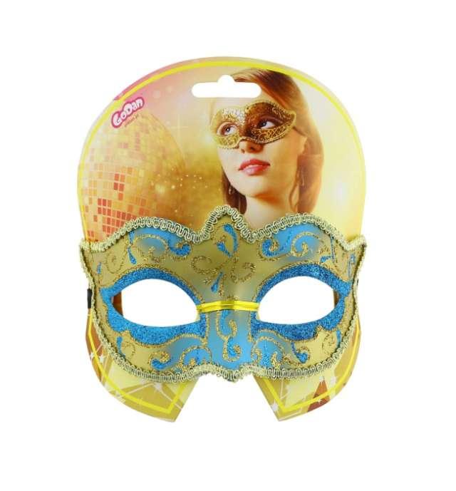 Maska karnawałowa turkusowo-złota tajemnicza