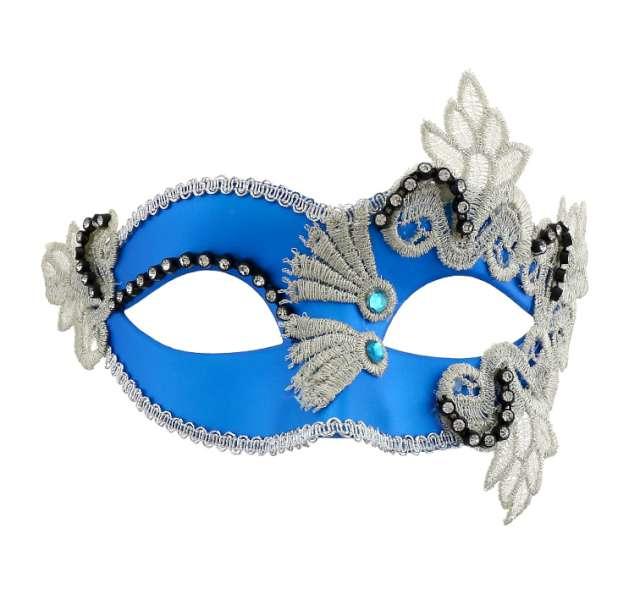 Maska karnawałowa, niebieska, wzorzysta