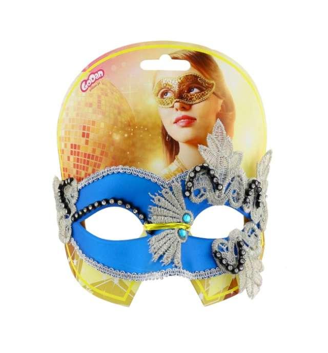 Maska karnawałowa niebieska wzorzysta