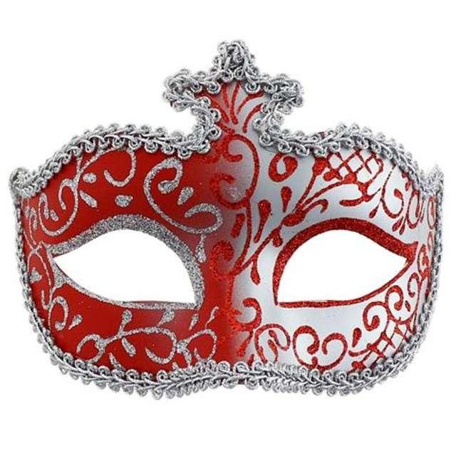 Maska karnawałowa, czerwono-srebrna z koroną