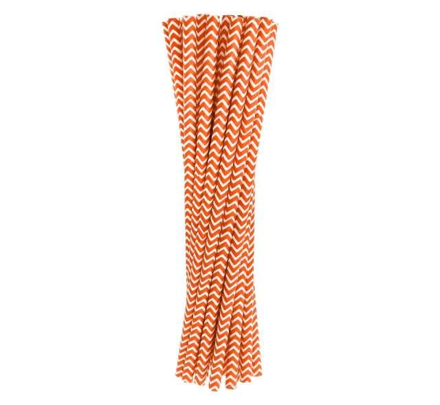 Słomki papierowe chevron, pomarańczowe, 19,7 cm, 24 szt