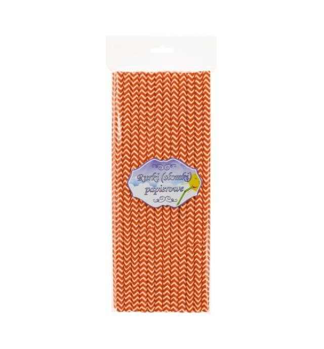 Słomki papierowe chevron pomarańczowe 197 cm 24 szt