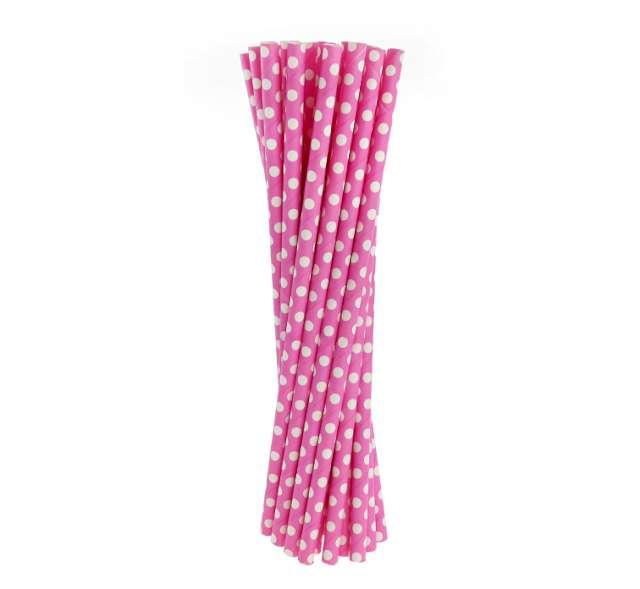 Słomki papierowe w kropki, różowe/białe, 19,5 cm, 24 szt