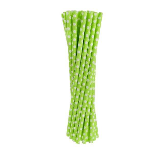 Słomki papierowe w kropki, zielone/białe, 19,5 cm, 24 szt