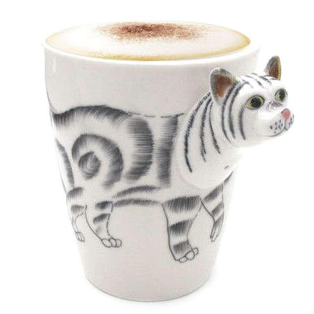 "Kubek ""Zwierzeta 3D kot"", biały, GM"