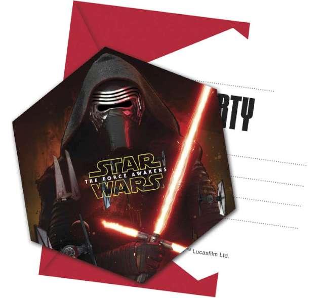 """Zaproszenia urodzinowe """"Star Wars The Force Awaknes"""", 6 szt"""