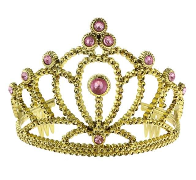 Diadem party, złoty z różowymi perłami