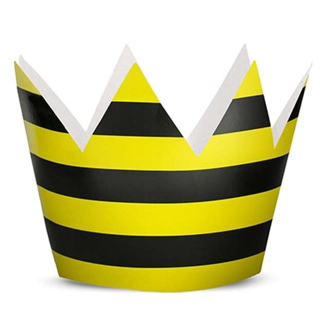 """Korona party """"Pszczółka"""", papierowa, 6 szt"""