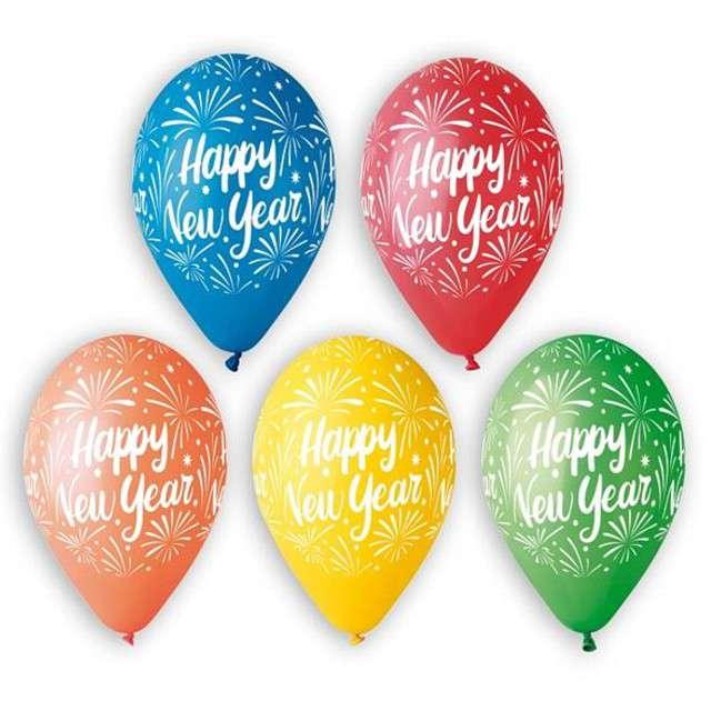 "Balony 12"", ""Happy New Year"", GEMAR, mix, 5 szt"
