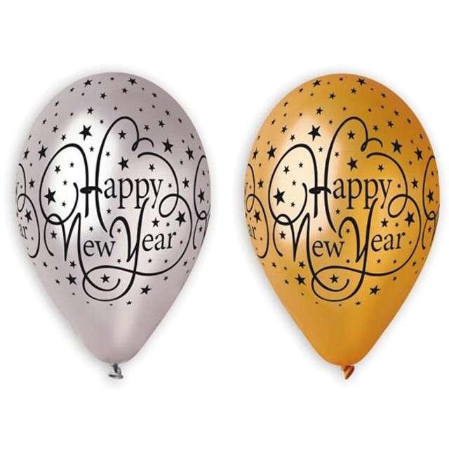 """Balony 12"""", """"Happy New Year"""", GEMAR, gold & silver, 5 szt"""