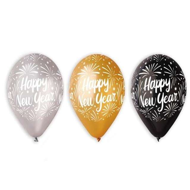 "Balony 12"", ""Happy New Year"", GEMAR, gold & silver & black, 5 szt"