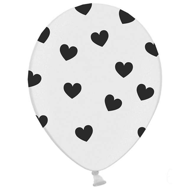 "Balony 14"", ""Serca"", STRONG, pastel white/black, 50 szt"