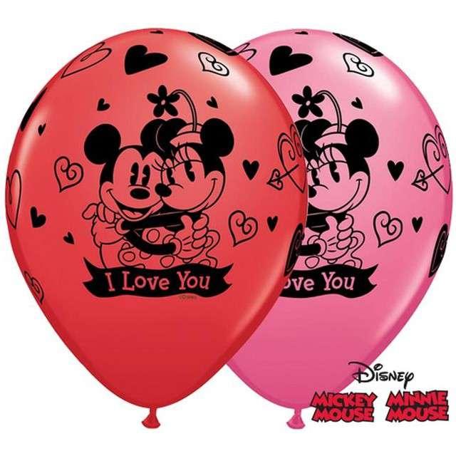 """_xx_Balon QL 11"""" z nadr. """"Mickey & Minnie I Love Yous"""", pastel czerwony i różowy / 25 szt."""
