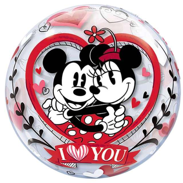 "Balon foliowy ""Mickey&Minnie I Love You"", Qualatex Bubbles, 22"""