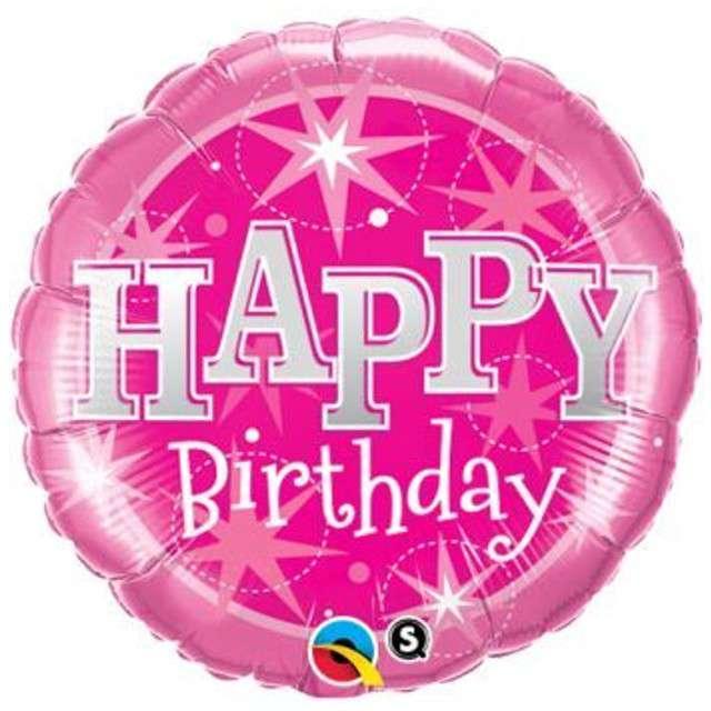 "_xx_Balon foliowy ""Happy Birthday Pink Star"", QUALATEX, 18"" RND"