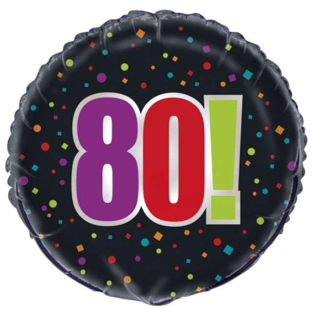 """Balon foliowy """"Urodziny 80"""", Unique, 18"""""""