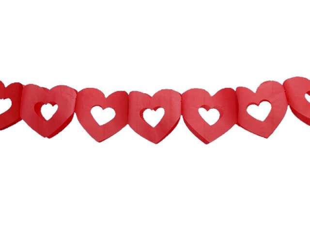 """Girlanda bibułowa """"Serca podwójne"""", czerwone, 300 cm"""